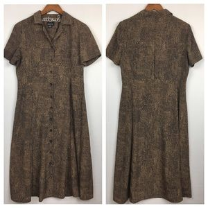 Vintage Spotted Button-Up Midi Dress